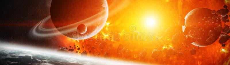 Sol de explosão no espaço perto dos elementos da rendição do planeta 3D de ilustração do vetor
