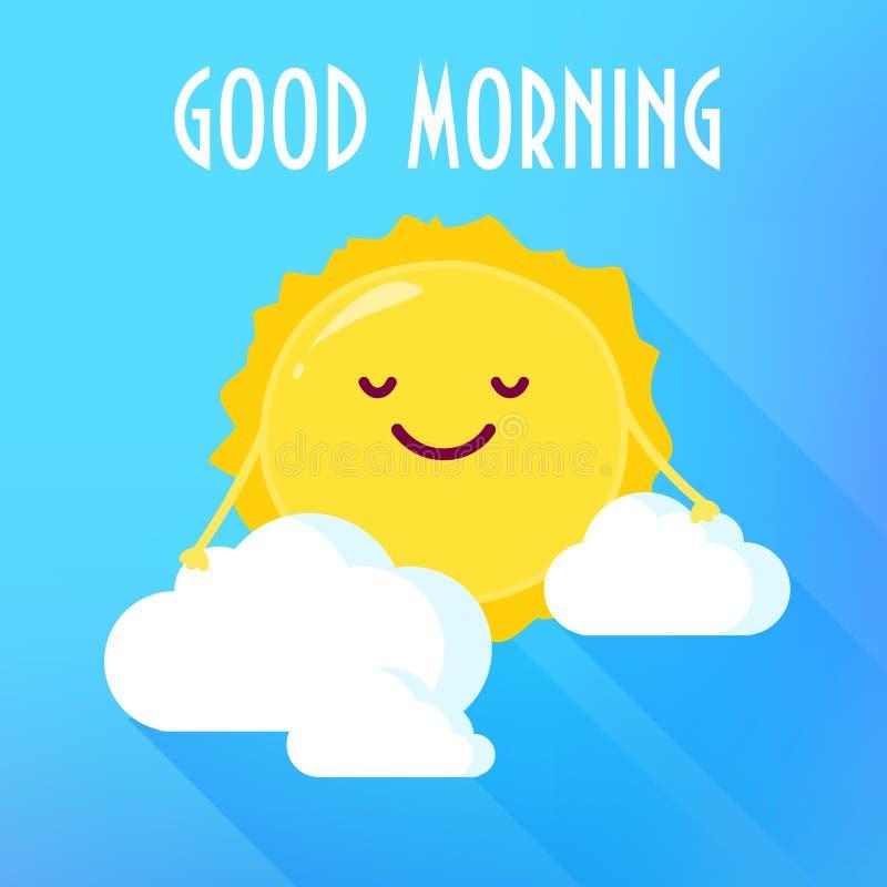 Sol de la historieta en sonrisas de las nubes Tarjeta de la buena mañana Estilo plano Ilustración del vector ilustración del vector