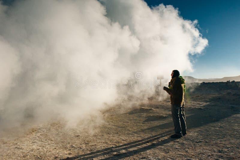 The Sol de la Manana, Rising Sun geyser field high up Altiplano of Bolivia stock images