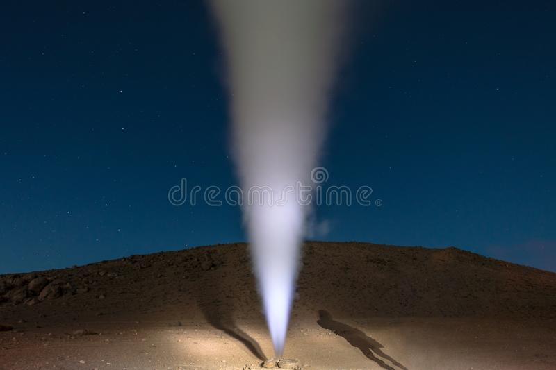 The Sol de la Manana, Rising Sun steaming geyser field high up in a massive crater in Bolivian Altiplano, Bolivia. The Sol de la Manana, Rising Sun steaming royalty free stock photos
