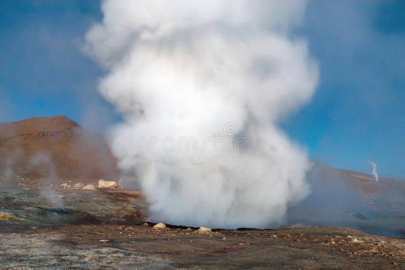 The Sol de la Manana, Rising Sun steaming geyser field high up in a massive crater in Bolivian Altiplano, Bolivia. The Sol de la Manana, Rising Sun steaming stock images