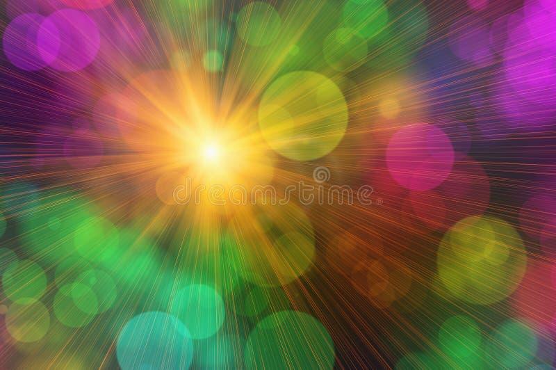 Sol de la sol con los fondos de las burbujas ilustración del vector