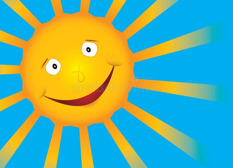 Sol de la sonrisa del vector en el cielo azul foto de archivo