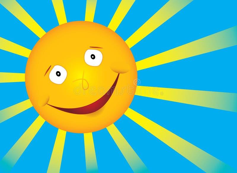 Sol de la sonrisa del vector en el cielo azul stock de ilustración