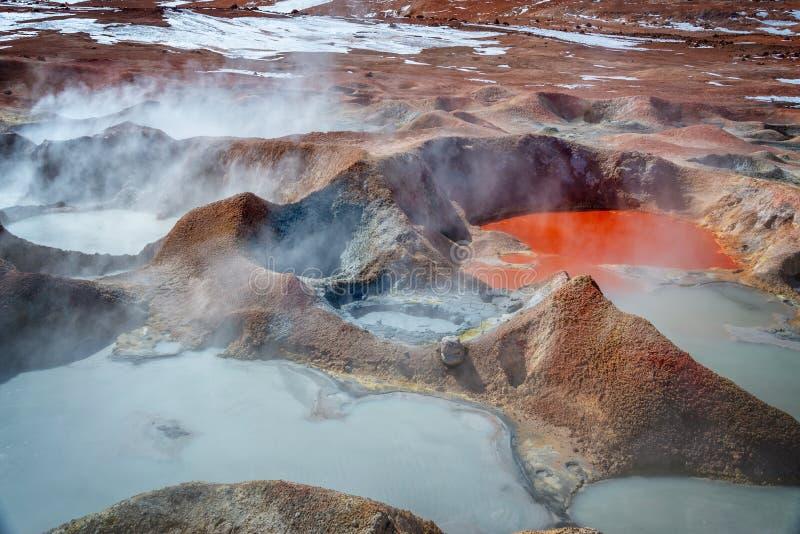 Sol de Manana, geisers en geothermisch gebied in de provincie van Sur Lipez, Potosi Bolivië royalty-vrije stock afbeelding