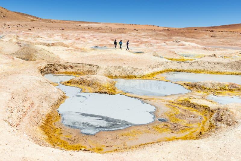 Sol de Manana-vulkaanactiviteit, Bolivië stock foto's