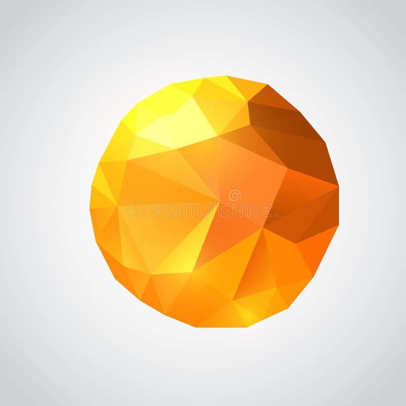 Sol de papel do origâmi Ilustração poligonal do vetor ilustração royalty free