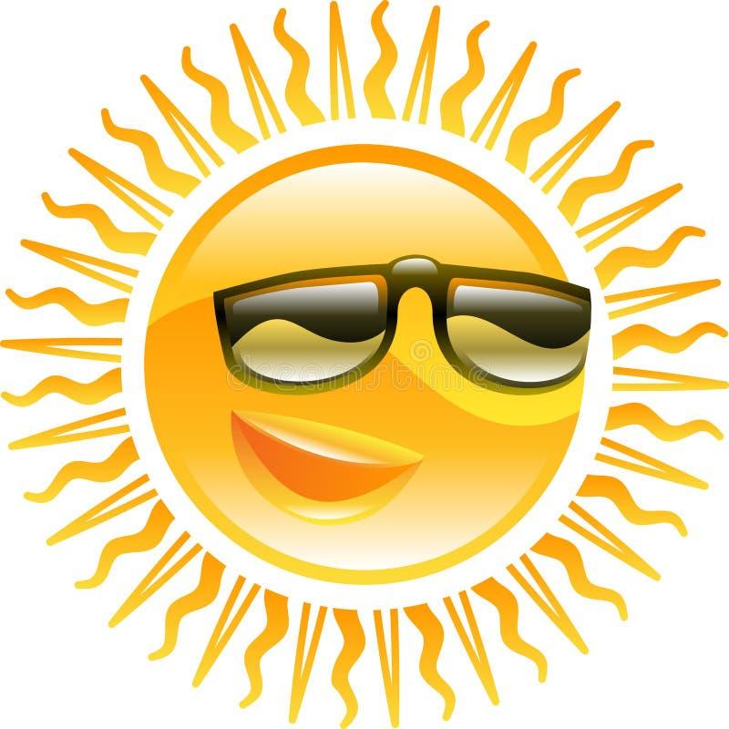 Sol de sorriso com ilustração dos óculos de sol ilustração royalty free
