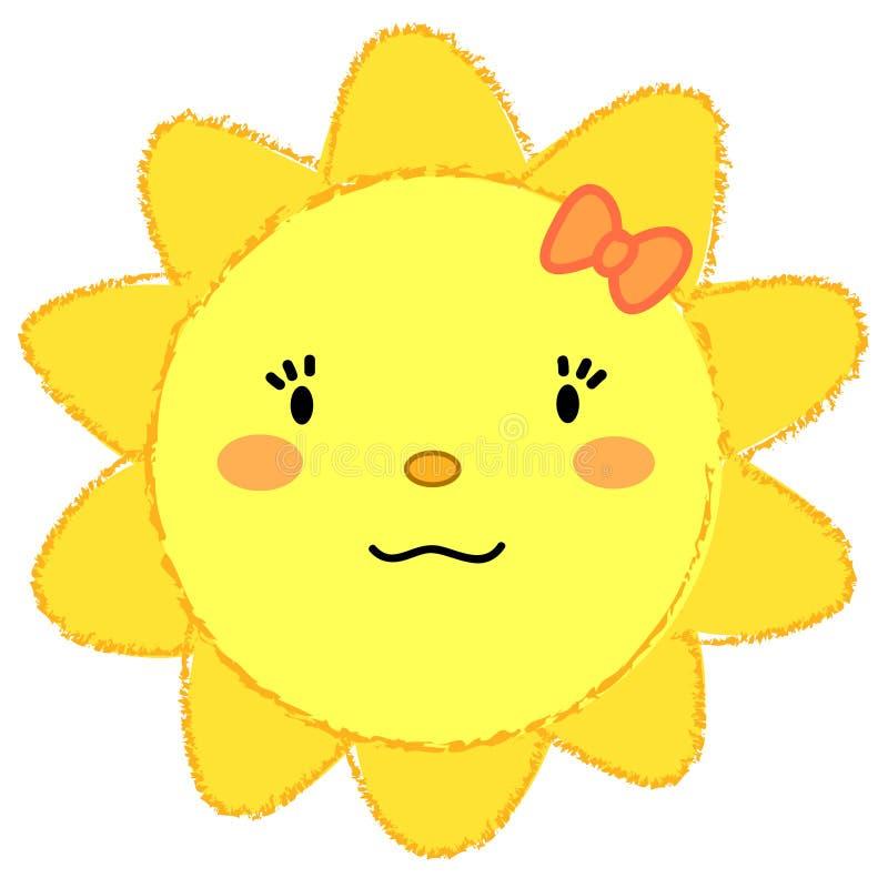 Sol de sorriso da menina bonito ilustração stock