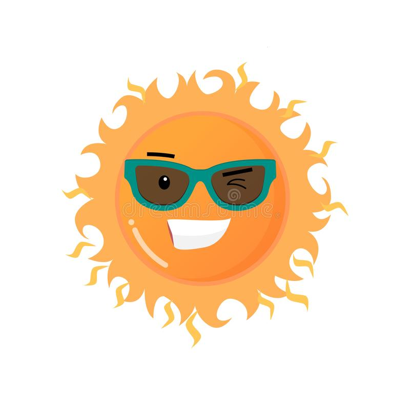 Sol de sorriso toothy engraçado na etiqueta do emoji dos óculos de sol isolada no fundo branco ilustração royalty free