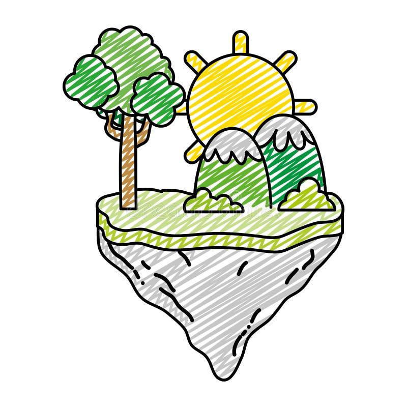 Sol del garabato con el árbol y montañas en la isla del flotador libre illustration