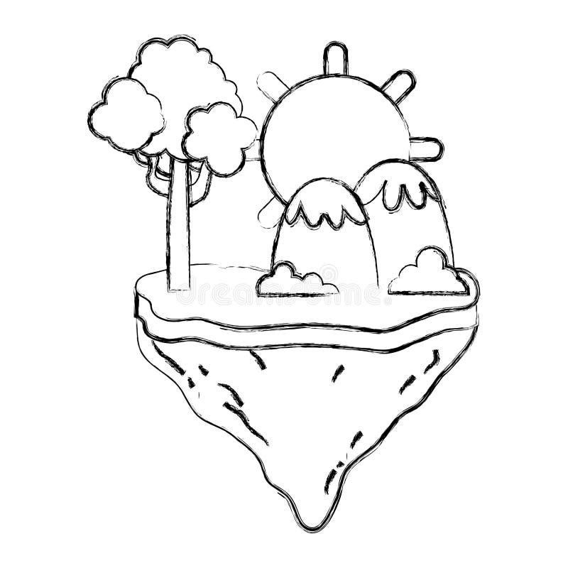 Sol del Grunge con el árbol y montañas en la isla del flotador ilustración del vector