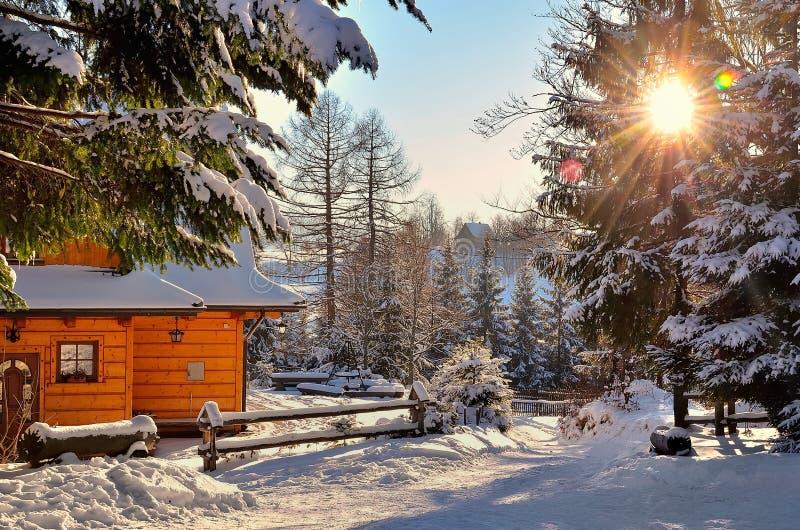 Sol del invierno en montañas fotos de archivo libres de regalías