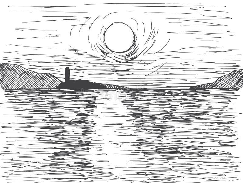 Sol dibujado mano de la puesta del sol sobre el mar En el horizonte es una montaña y un faro Ejemplo del vector de un estilo del  stock de ilustración