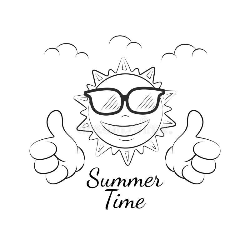Sol divertido del verano con el pulgar para arriba ilustración del vector