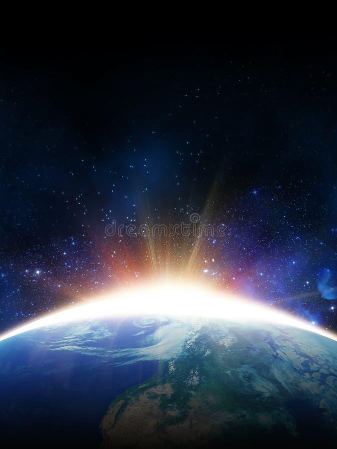 Sol do alvorecer Vista do espaço imagem de stock royalty free