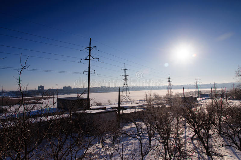 Sol do inverno no céu foto de stock