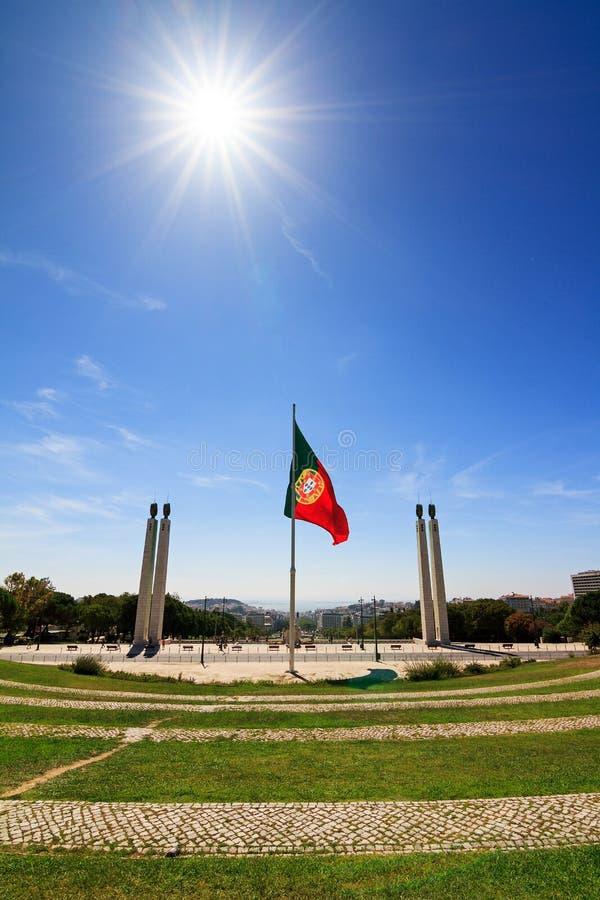 Sol do monumento de Lisboa fotografia de stock