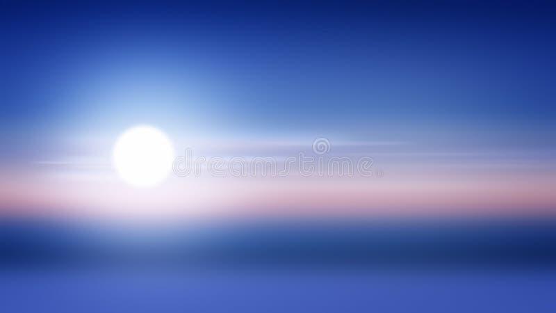 Sol do nascer do sol do fundo do inclinação do por do sol, manhã da luz solar ilustração stock