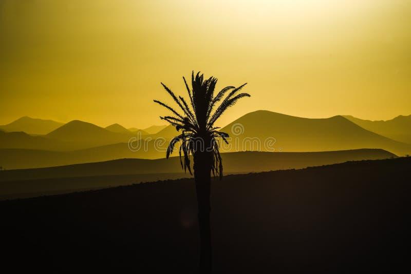 Sol do por do sol em Lanzarote, paisagem das Ilhas Canárias, ove do por do sol fotos de stock