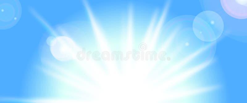 Sol do vetor no céu azul ilustração do vetor