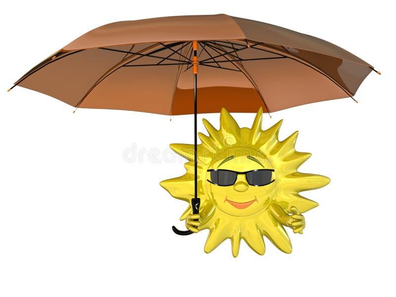 Sol dos desenhos animados com guarda-chuva ilustração do vetor