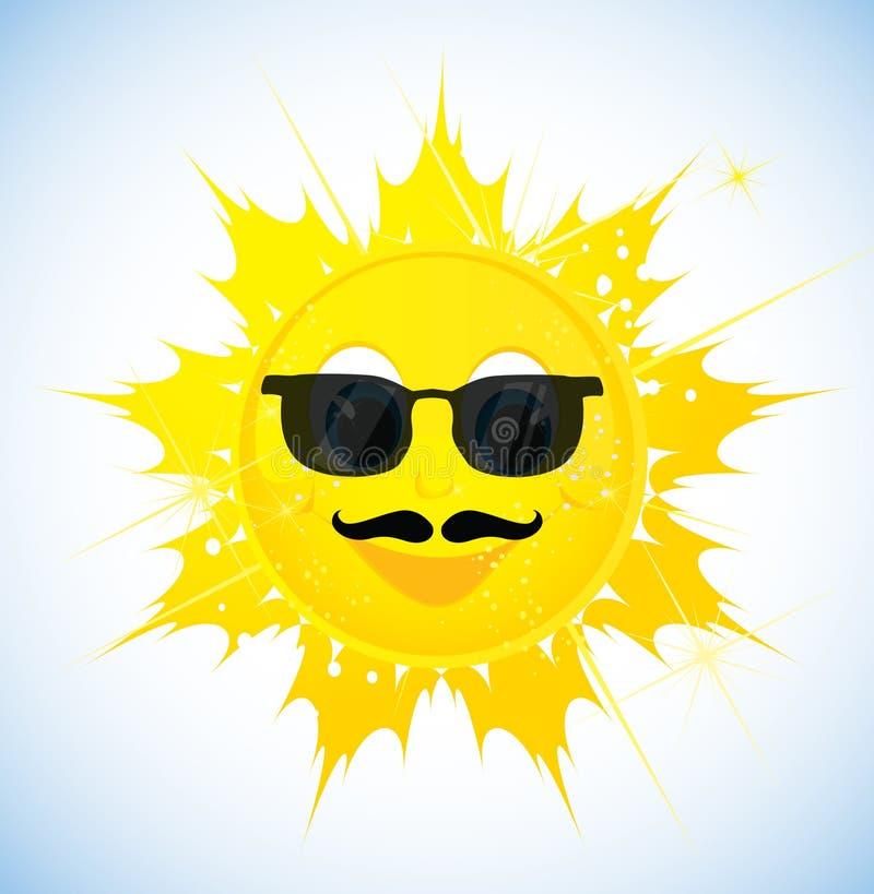 Sol dos desenhos animados nos óculos de sol ilustração royalty free