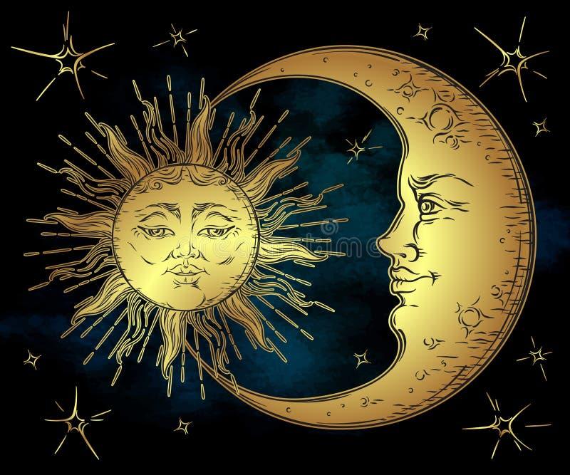 Sol dourado tirado da arte do estilo mão antiga, lua crescente e estrelas sobre o céu do preto azul Vetor chique do projeto de Bo ilustração royalty free