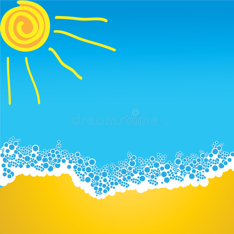 Sol e areia da onda do mar ilustração stock