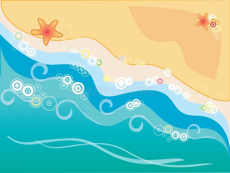 Sol e areia da onda do mar ilustração do vetor