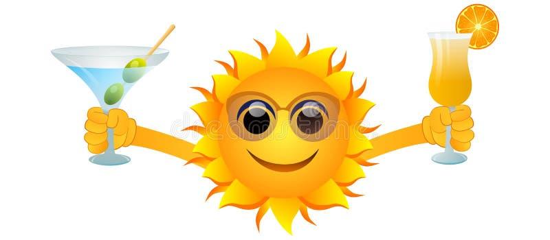 sol e bebidas do verão ilustração do vetor