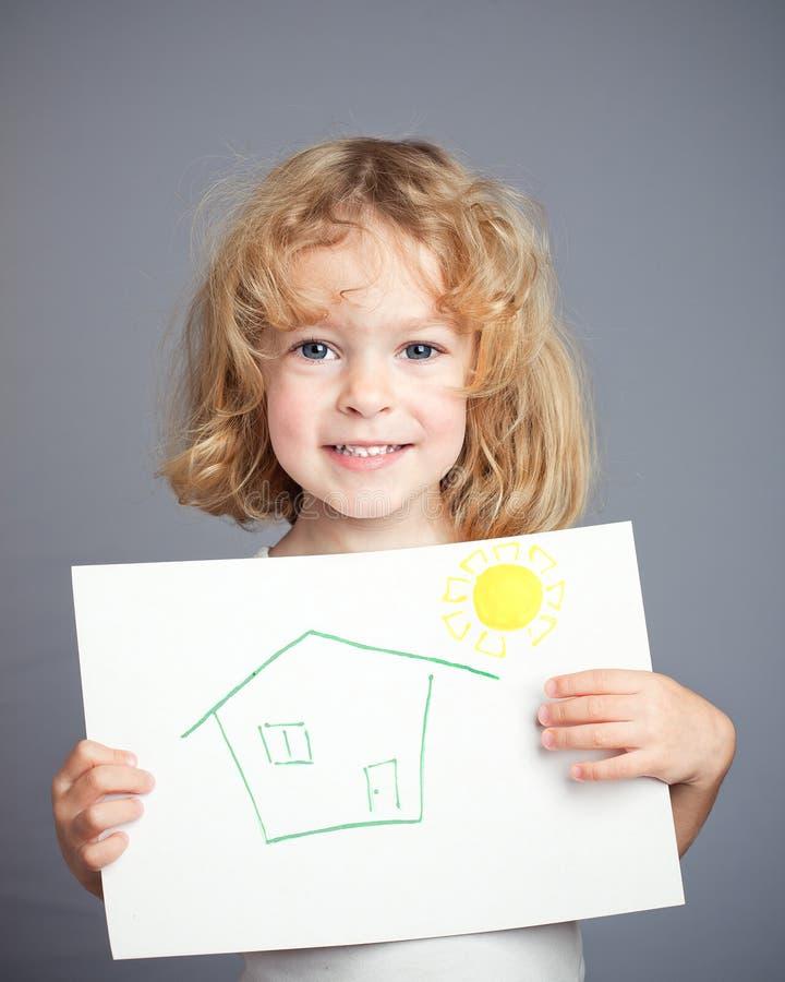 Sol e casa desenhados fotografia de stock royalty free