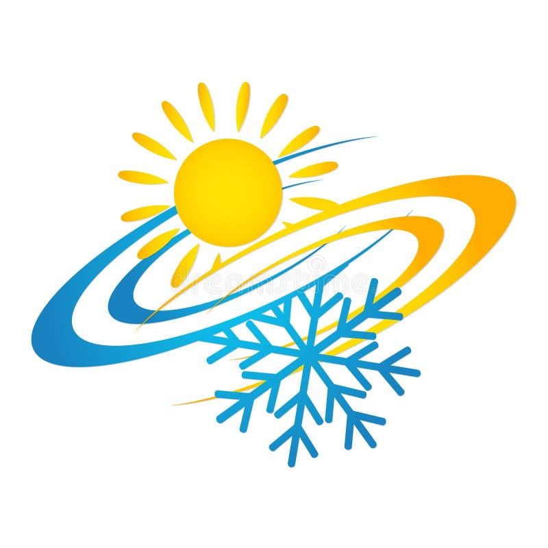 Sol e floco de neve do condicionamento de ar ilustração royalty free