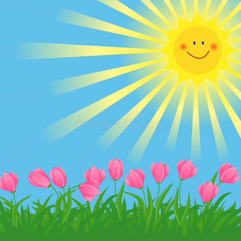 Sol e flores da mola ilustração do vetor