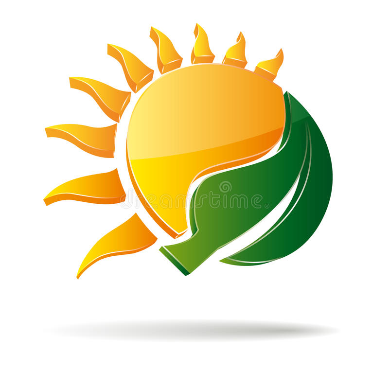 sol e folha do vetor 3D ilustração royalty free