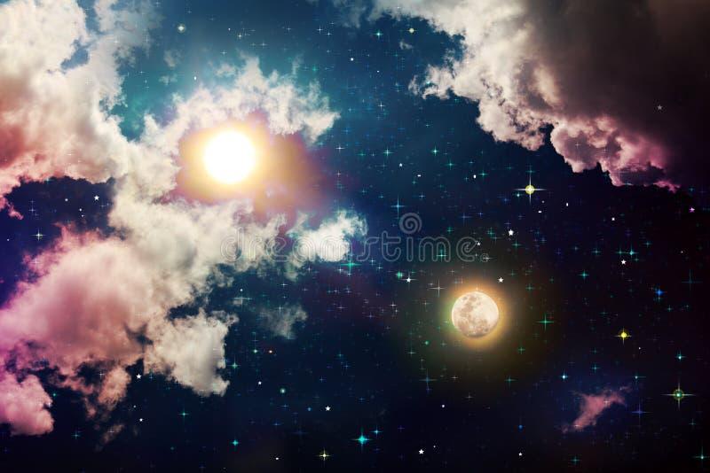 Sol e Lua cheia de brilho com as estrelas no céu noturno escuro ilustração royalty free
