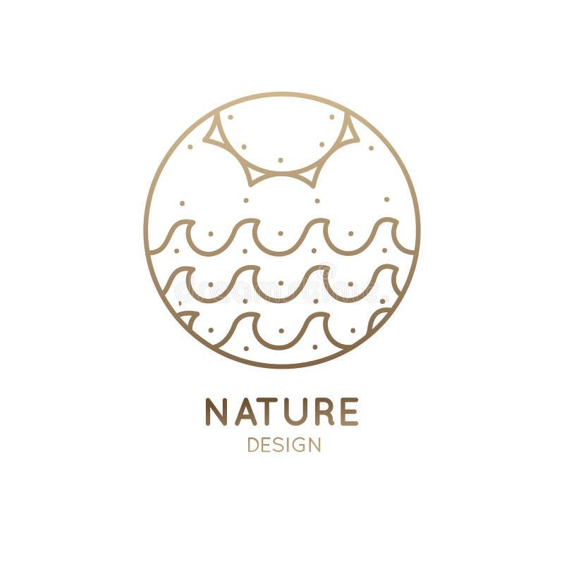 Sol e mar do logotipo ilustração do vetor