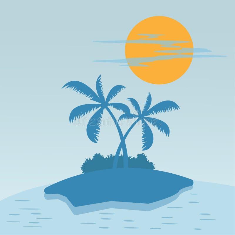 Sol e palmeira do sumário da ilustração da praia do verão no beira-mar ilustração stock