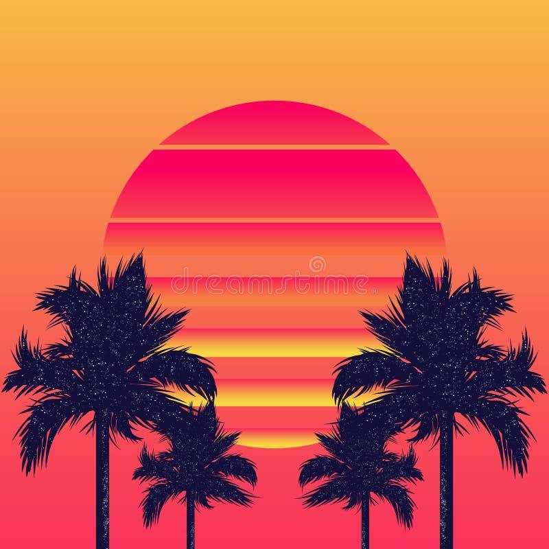 Sol e palmeiras de Retrowave foto de stock royalty free