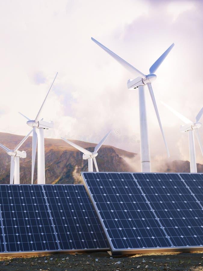 Sol- Eco makt och vindgeneratorer arkivfoto