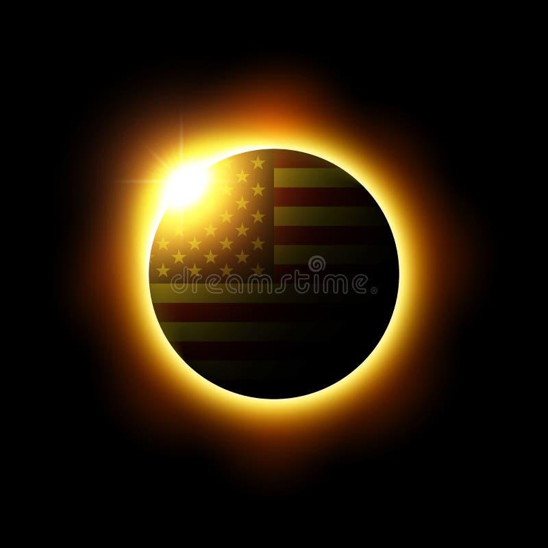 Sol- eller månförmörkelse och amerikanska flaggan vektor royaltyfri illustrationer