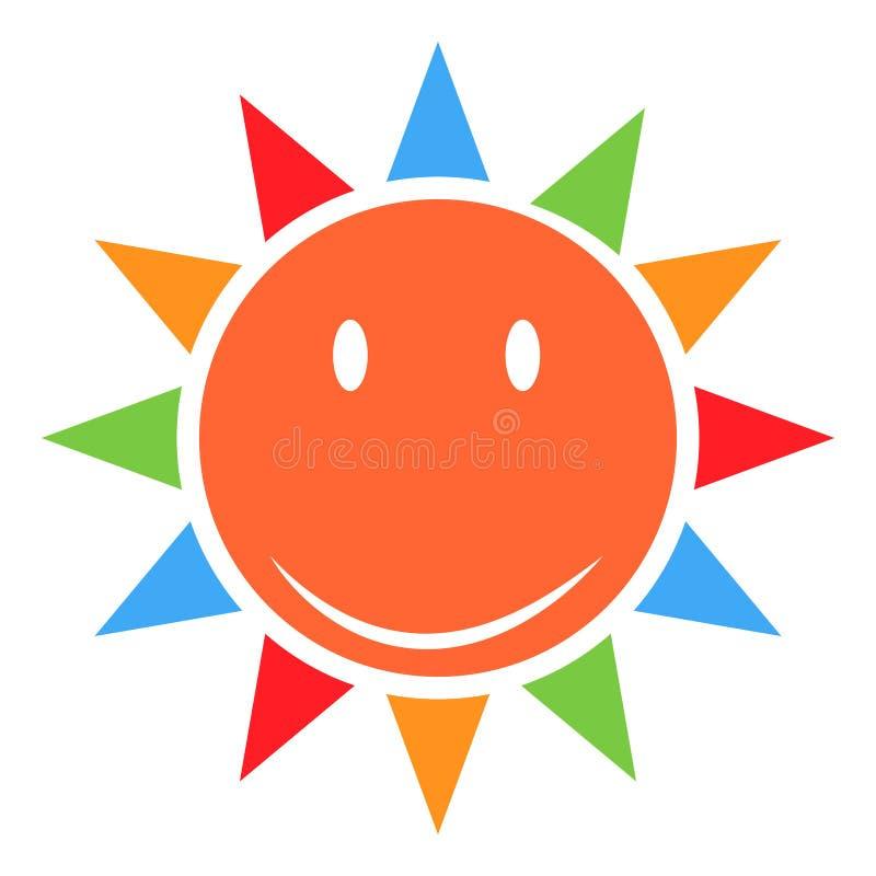 Sol eller solsken som en vektor på en isolerad bakgrundsillustration royaltyfri illustrationer