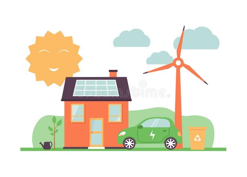 Sol- energi, ecobil, hus, väderkvarnar, slagavskräde vektor illustrationer
