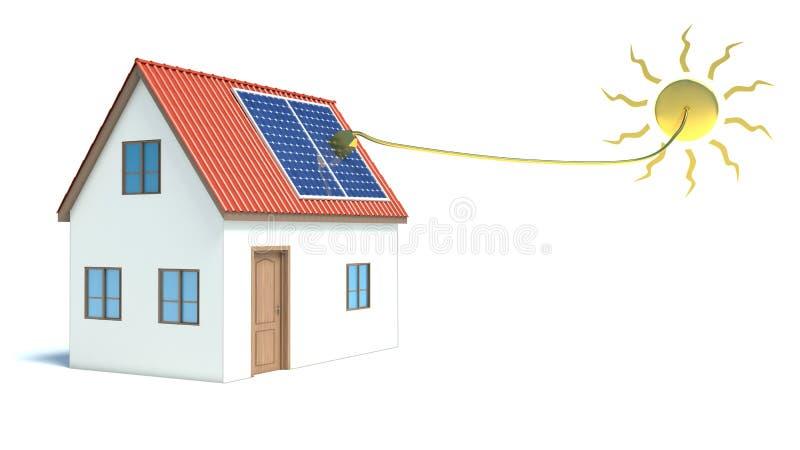 Sol- energi. Hus royaltyfri illustrationer
