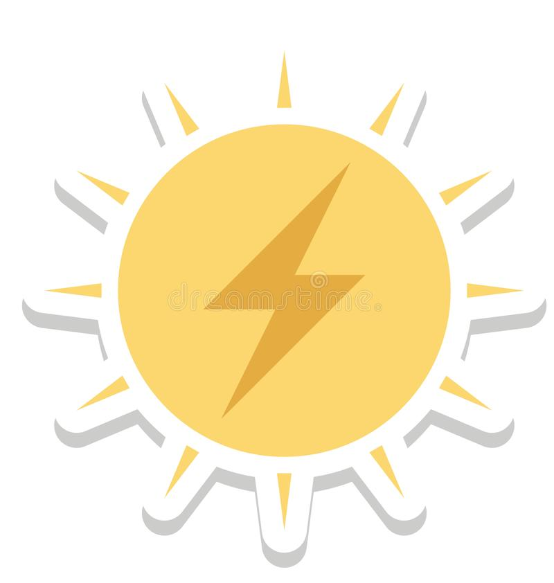 Sol- energi, isolerad vektorsymbol för solenergi färg stock illustrationer