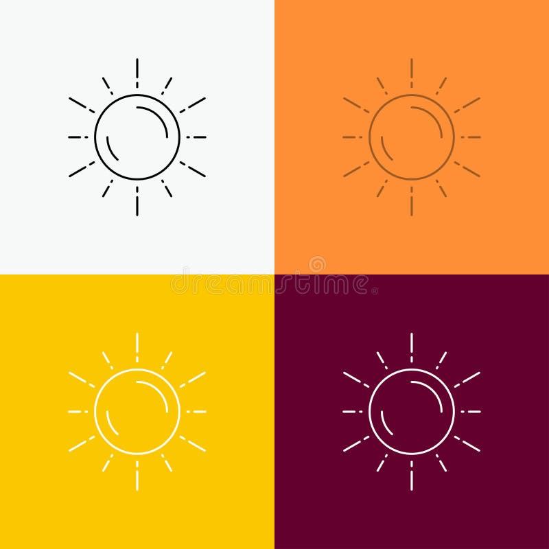 sol, espacio, planeta, astronomía, icono del tiempo sobre diverso fondo L?nea dise?o del estilo, dise?ado para la web y el app Ve ilustración del vector