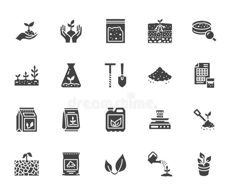 Sol examinant l'ensemble plat d'icônes de glyph Agriculture, plantant des illustrations de vecteur, mains tenant la terre avec le illustration libre de droits