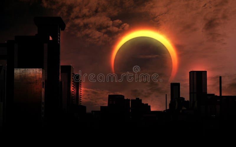 Sol- förmörkelse över staden stock illustrationer