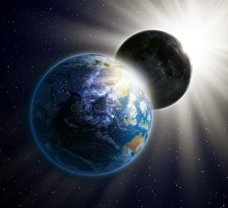 Sol- förmörkelse som ses från utrymme stock illustrationer