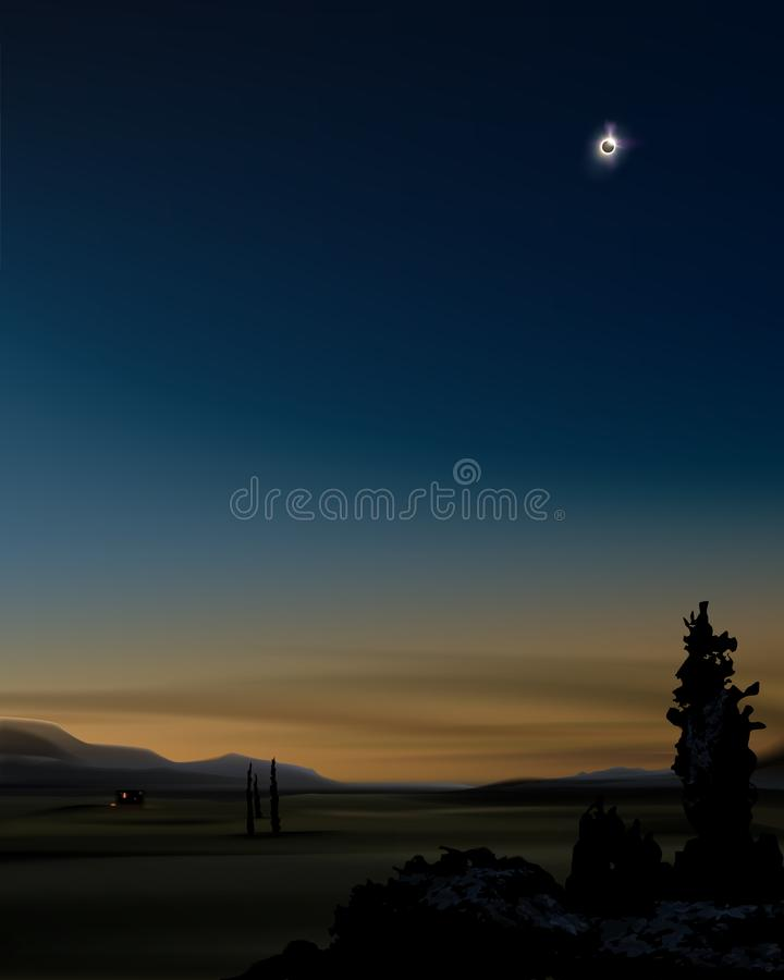 Sol- förmörkelse under solnedgång stock illustrationer